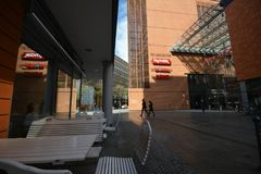 Εντυπώσεις από την πλατεία του Πότσνταμ, Potsdamer Platz στο Βερολίνο από τις 11 Απριλίου 2017, Γερμανία Στοκ Εικόνες