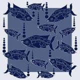 Ενυδρείο Σκούρο μπλε ψάρια στα σημεία Πόλκα ελεύθερη απεικόνιση δικαιώματος