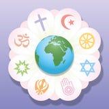Ενωμένα θρησκείες σύμβολα ειρήνης παγκόσμιων λουλουδιών Στοκ Εικόνες
