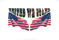 Ενωμένοι στεκόμαστε με δύο αμερικανικές σημαίες στοκ εικόνα