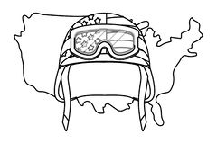 Ενωμένος κρατικός χάρτης και στρατιωτικό κράνος γραπτοί απεικόνιση αποθεμάτων