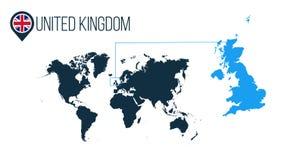 Ενωμένος σύγχρονος διανυσματικός χάρτης θέσης Kingdon για το infographics Όλες οι παγκόσμιες χώρες χωρίς ονόματα στρογγυλή σημαία διανυσματική απεικόνιση