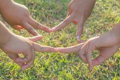 Ενώστε τα αθλητικά τοπικά παιδιά χεριών στη φύση στοκ φωτογραφίες με δικαίωμα ελεύθερης χρήσης