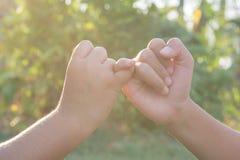 Ενώστε τα αθλητικά τοπικά παιδιά χεριών στη φύση στοκ εικόνες