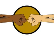 Ενώστε το διπλό χέρι πυγμών χρωμάτων που σύρεται Στοκ Εικόνα