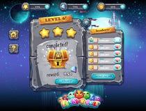 Ενδιάμεσο με τον χρήστη για τα παιχνίδια στον υπολογιστή και το σχέδιο Ιστού με τα κουμπιά, τα βραβεία, τα επίπεδα και άλλα στοιχ Στοκ Εικόνα