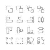 Ενδιάμεσο με τον χρήστη & γραφικά εικονίδια στοιχείων - διανυσματική απεικόνιση, εικονίδια γραμμών καθορισμένα Στοκ Εικόνα