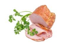 Εν μέρει τεμαχισμένο ζαμπόν με την οσφυϊκή χώρα χοιρινού κρέατος και τον κλαδίσκο του cilantro Στοκ εικόνα με δικαίωμα ελεύθερης χρήσης