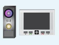 ενδοσυνεννόηση Τηλεοπτική ενδοσυνεννόηση Το όργανο ελέγχου και η υπαίθρια επιτροπή με βιντεοκάμερα ελεύθερη απεικόνιση δικαιώματος