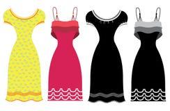 Θερινά φορέματα γυναικών. Ενδύματα που απομονώνονται διανυσματικά στο wh Στοκ φωτογραφία με δικαίωμα ελεύθερης χρήσης