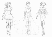Ενδύματα σχεδιαστών σκίτσων, σχεδιαστής μόδας Στοκ Εικόνες
