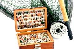 Εξάρτηση αλιείας μυγών στο άσπρο υπόβαθρο Στοκ φωτογραφίες με δικαίωμα ελεύθερης χρήσης