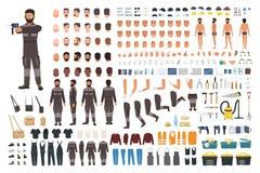 Εξάρτηση δημιουργιών επισκευαστών ή μελών των ενόπλων δυνάμεων Δέσμη των αρσενικών λεπτομερειών σωμάτων χαρακτήρα κινουμένων σχεδ διανυσματική απεικόνιση