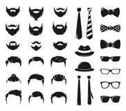 Εξάρτηση δημιουργιών πορτρέτων Hipster Μονοχρωματικός κατασκευαστής με το αρσενικό moustache, τη γενειάδα και το κούρεμα ελεύθερη απεικόνιση δικαιώματος