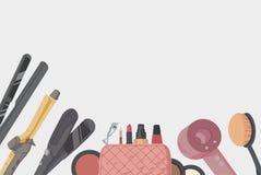 Εξάρτηση καλλιτεχνών σύνθεσης Εξαρτήματα προσδιορισμού τρίχας καθορισμένα Καλλυντική σκιά ματιών προϊόντων, κραγιόν, σκόνη ελεύθερη απεικόνιση δικαιώματος