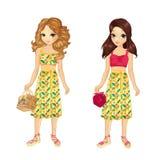Εξάρτηση κοριτσιών με τη φούστα λουλουδιών απεικόνιση αποθεμάτων