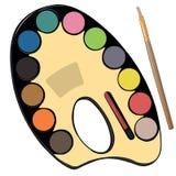 Εξάρτηση σχολικών χρωμάτων για τον καλλιτέχνη με τα χρώματα, μολύβια Στοκ Φωτογραφίες