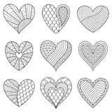 Εξάρτηση των γραπτών καρδιών περιγράμματος με τη διακόσμηση για τη σελίδα Στοκ φωτογραφία με δικαίωμα ελεύθερης χρήσης