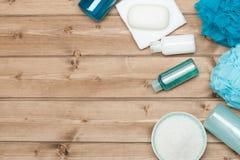 Εξάρτηση SPA Τοπ όψη Σαμπουάν, φραγμός σαπουνιών και υγρό Πήκτωμα ντους Aro Στοκ Εικόνες