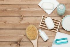 Εξάρτηση SPA Τοπ όψη Σαμπουάν, φραγμός σαπουνιών και υγρό Πήκτωμα ντους Aro Στοκ Εικόνα