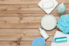 Εξάρτηση SPA Τοπ όψη Σαμπουάν, φραγμός σαπουνιών και υγρό Πήκτωμα ντους Aro Στοκ εικόνες με δικαίωμα ελεύθερης χρήσης