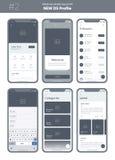 Εξάρτηση Wireframe για το κινητό τηλέφωνο Κινητό App UI, σχέδιο UX Νέο σχεδιάγραμμα OS ελεύθερη απεικόνιση δικαιώματος