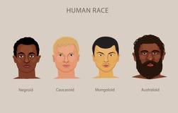 Εξέλιξη του διαφορετικού διανυσματικού συνόλου φυλών Ανθρώπινη ταξινόμηση ιστορίας φυλών διανυσματική απεικόνιση