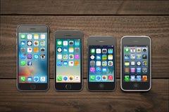 Εξέλιξη του iPhone της Apple Στοκ εικόνα με δικαίωμα ελεύθερης χρήσης