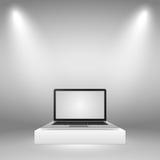 Εξέδρα για το lap-top Δύο ακτίνες του φωτός σε ένα γκρίζο υπόβαθρο διανυσματική απεικόνιση