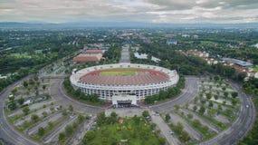 Εξέδρα επισήμων άποψης Arial στο 700ο αθλητικό στάδιο επετείου σε Chia Στοκ Εικόνες