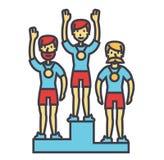 Εξέδρα νικητών, αθλητική ομάδα, πρώτη θέση, Ολυμπιακοί Αγώνες, έννοια ανταγωνισμού απεικόνιση αποθεμάτων