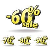 Εξήντα, εβδομήντα, ογδόντα, εικονίδιο έκπτωσης ενενήντα τοις εκατό στο άσπρο υπόβαθρο απομονωμένος Ο Μαύρος και κίτρινος Πώληση Στοκ φωτογραφίες με δικαίωμα ελεύθερης χρήσης