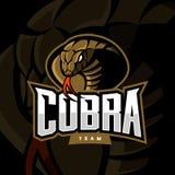 Εξαγριωμένη έννοια αθλητικών διανυσματική λογότυπων cobra στο σκοτεινό υπόβαθρο Στοκ Εικόνες