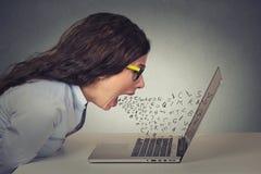 εξαγριωμένη επιχειρηματίας που εργάζεται στον υπολογιστή, κραυγήη Στοκ Εικόνες