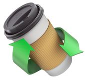 Εξαγωγέα καφές στο θερμο φλυτζάνι με την ανακύκλωση των βελών Στοκ φωτογραφία με δικαίωμα ελεύθερης χρήσης