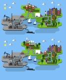 Εξαγωγή αγροκτημάτων και πετρελαίου πόλεων διανυσματική απεικόνιση