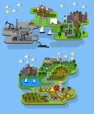 Εξαγωγή αγροκτημάτων και πετρελαίου πόλεων ελεύθερη απεικόνιση δικαιώματος