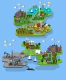 Εξαγωγή αγροκτημάτων και πετρελαίου πόλεων απεικόνιση αποθεμάτων