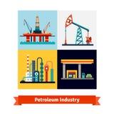 Εξαγωγή αργού πετρελαίου, καθαρισμός, πωλώντας επιχείρηση διανυσματική απεικόνιση