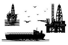 Εξαγωγή των πετρελαιοειδών στη θάλασσα ελεύθερη απεικόνιση δικαιώματος