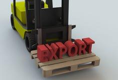 ΕΞΑΓΩΓΗ, μήνυμα στο ξύλινο pillet με forklift το φορτηγό απεικόνιση αποθεμάτων