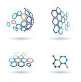 Εξαγωνικά αφηρημένα εικονίδια, επιχειρησιακές έννοιες διανυσματική απεικόνιση
