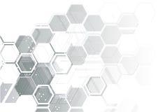 Εξαγωνικό φουτουριστικό υπόβαθρο τεχνολογίας υπολογιστών αφηρημένο Στοκ Εικόνες