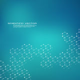 Εξαγωνικό DNA μορίων δομών του συστήματος νευρώνων, των γενετικών και χημικών ενώσεων, του ιατρικού ή επιστημονικού υποβάθρου για Στοκ Φωτογραφίες