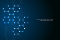 Εξαγωνικό DNA μορίων δομών του συστήματος νευρώνων, των γενετικών και χημικών ενώσεων, του ιατρικού ή επιστημονικού υποβάθρου για ελεύθερη απεικόνιση δικαιώματος