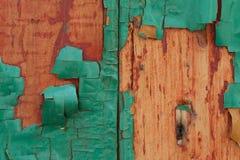 Εξαθλιωμένο πράσινο παλαιό ξύλινο υπόβαθρο Στοκ Φωτογραφία