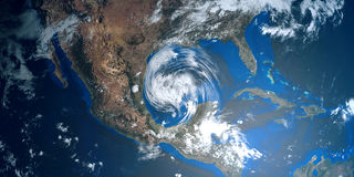 Εξαιρετικά λεπτομερής και ρεαλιστική τρισδιάστατη απεικόνιση υψηλής ανάλυσης ενός τυφώνα που πλησιάζει τις ΗΠΑ Πυροβοληθείς από τ στοκ φωτογραφίες με δικαίωμα ελεύθερης χρήσης