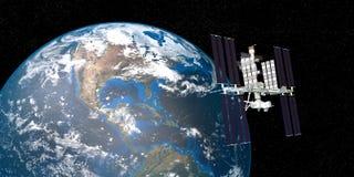 Εξαιρετικά λεπτομερής και ρεαλιστική τρισδιάστατη εικόνα υψηλής ανάλυσης της βάζοντας σε τροχιά γης Διεθνών Διαστημικών Σταθμών I ελεύθερη απεικόνιση δικαιώματος