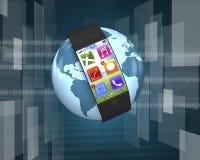 Εξαιρετικά λεπτό έξυπνο ρολόι κυρτός-οθόνης με τα apps στη σφαίρα Στοκ φωτογραφία με δικαίωμα ελεύθερης χρήσης