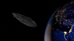 Εξαιρετικά λεπτομερής και ρεαλιστική τρισδιάστατη απεικόνιση υψηλής ανάλυσης interstellar asteroid Στοκ φωτογραφία με δικαίωμα ελεύθερης χρήσης